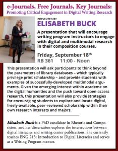 Elisabeth Buck Speaker Series